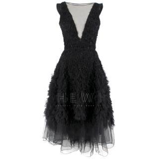 Dennis Basso Embroidered Tulle Deep V-Neck Asymmetric Silk Dress