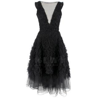 Dennis Basso Embroidered Tulle Deep V-Neck Asymmetric Silk Dress