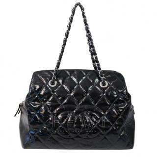 Chanel black distressed patent leather quilted tote