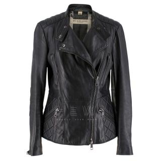 Burberry Asymmetric Zip Black Leather Biker Jacket