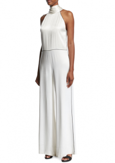 Galvan Satin Halter Jumpsuit with Contrast Piping