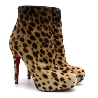 Christian Louboutin Pony Hair Leopard Print Ankle Boot Heels