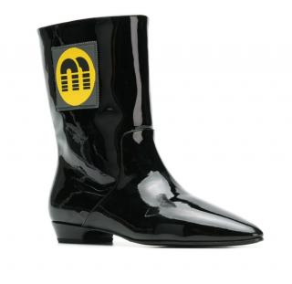 Miu Miu black patent leather logo patch ankle boots