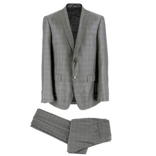 Balmain Men's Grey Check Slim Fit Suit