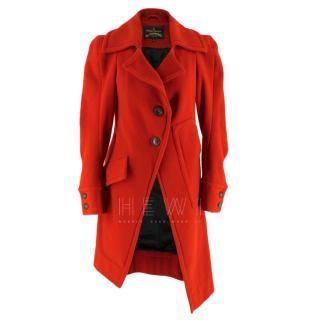 Vivienne Westwood Anglomania Red Wool Asymmetric Coat