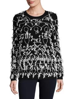 Max Mara Black Tione Fringe Sweater