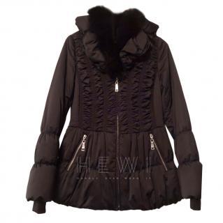 Diego M Navy Fur Trim Jacket