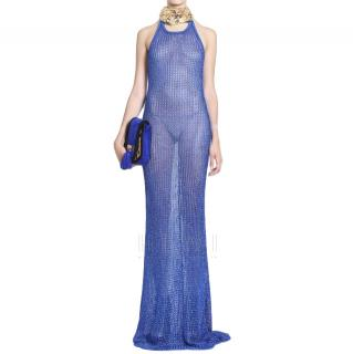 Balmain Knit Maxi Bodycon Colbalt Blue Dress