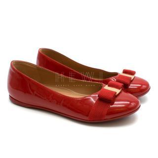 Salvatore Ferragamo Girls Red Patent Leather Ballet Flats