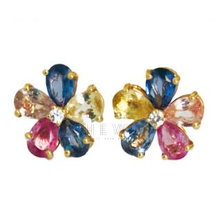 Bvlgari Sapphire & Diamond Flower Stud Earrings