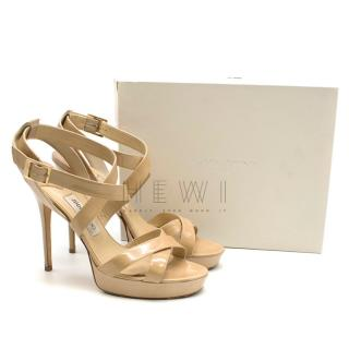 Jimmy Choo Nude Patent Leather Vamp Platform Sandals
