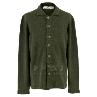 Inis Me�in Green Wool-Alpaca Cardigan