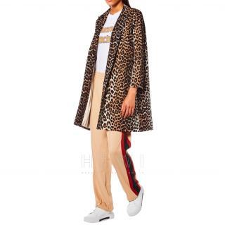 Ganni Leopard Print Cotton Twill Coat
