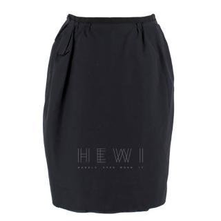 Lanvin Black Silk Blend Tulip Skirt