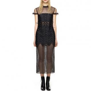Self-Portrait Evie Black Midi Dress