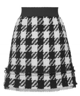 Dolce & Gabbana Black & White Tweed Wool Skirt