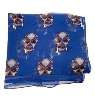 Alexander McQueen Blue Skull Print Silk Scarf