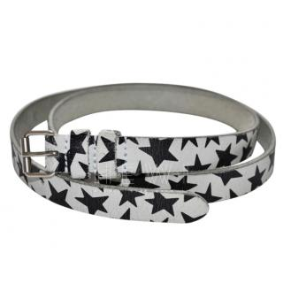 Saint Laurent Star Print Silver Leather Belt