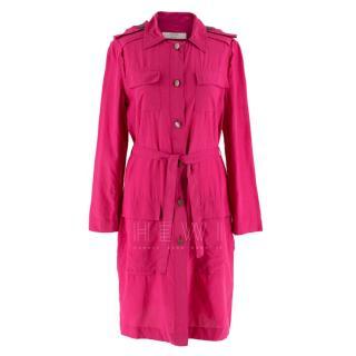 Lanvin hot pink belted shirt dress