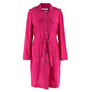 Lanvin hot pink belted shirt dress