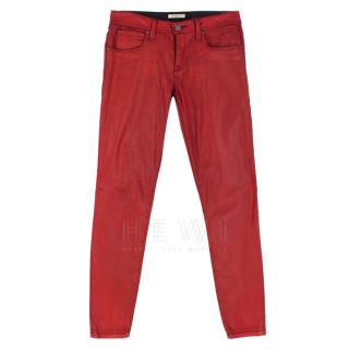Burberry Brit red Westbourne coated skinny jeans