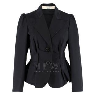 Lanvin Black Silk Blend Fitted Blazer
