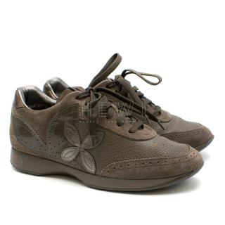 Louis Vuitton ash lace up suede & leather sneakers