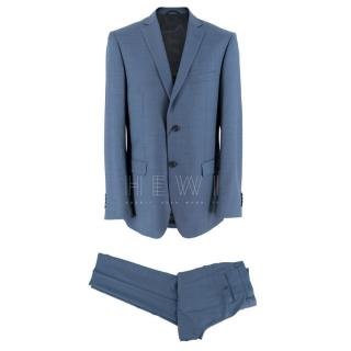 Balmain Blue Single Breasted Wool Two Piece Suit