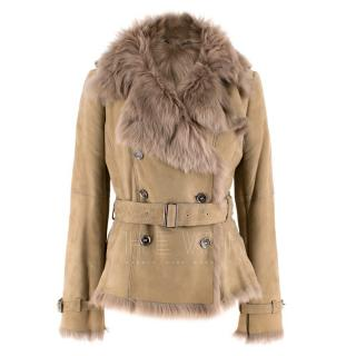 Burberry Camel Lamb Shearling Belted Jacket