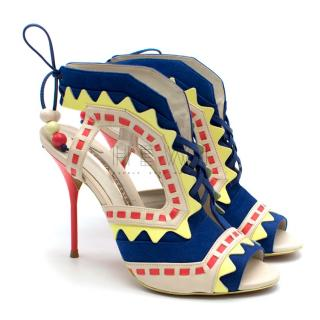 Sophia Webster Riko Colorblock Lace-up Zigzag Sandals