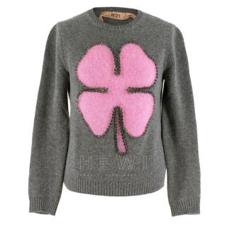 No.21 Grey & Pink Wool Four Leaf Clover Intarsia Embellished Jumper