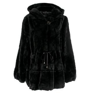 Filippidis Furs Black Mink Fur Hooded Jacket