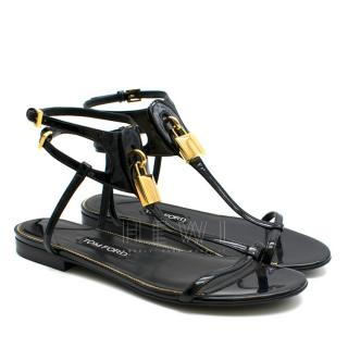 Tom Ford 'Daphne' padlock patent leather sandals