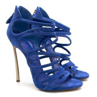 Casadei Blue Suede Blade Heel Sandals