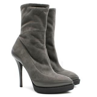 Gucci grey suede platform sock boots