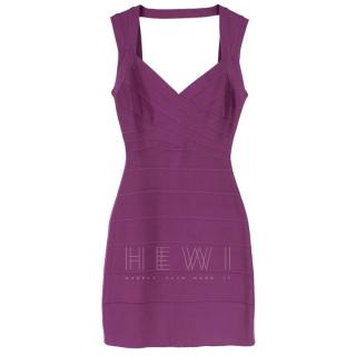 Herve Leger Purple Open Back Bandage Dress