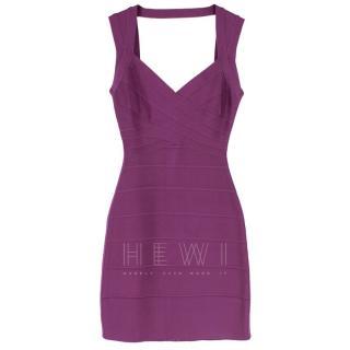 Herve Leger Purple Open Back Bandage Dress