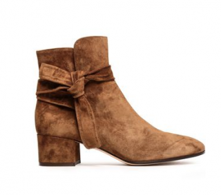 Gianvito Rossi Leslie knotted suede ankle boots