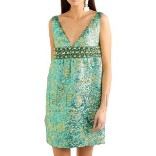 Michael Kors Collection Crystal Embellished Metallic Brocade Dress