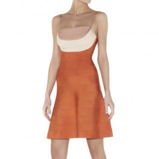Herve Leger Orange Britt Bandage Dress