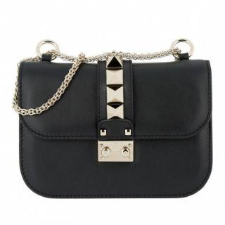 Valentino Small Rockstud Lock Black Shoulder Bag