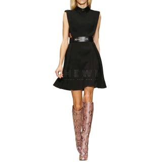 Gucci Runway Cut-Out Leather Trim Dress