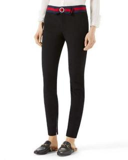 Gucci Compact Knit Leggings With Sylvie Web Belt