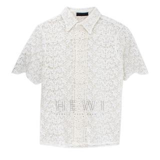 Burberry Men's White Lace Shirt