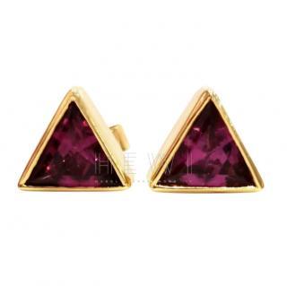 Bespoke Yellow Gold Triangle Rhodolite Stud Earrimgs