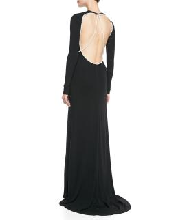 Cushnie et Ochs Long-Sleeve Pearl-Strung Open-Back Gown Black