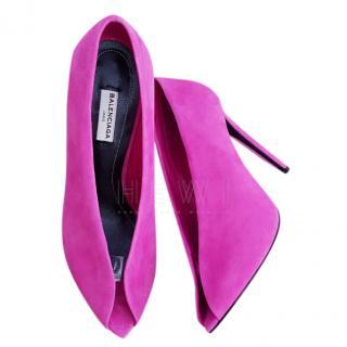 Balenciaga Bubblegum Pink Open Toe Suede Pumps