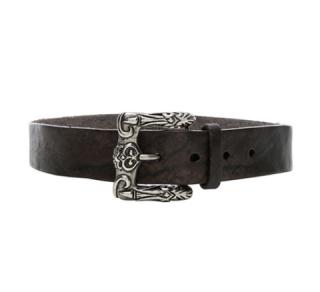 Saint Laurent Leather Belt w/ Celtic Engraved Buckle
