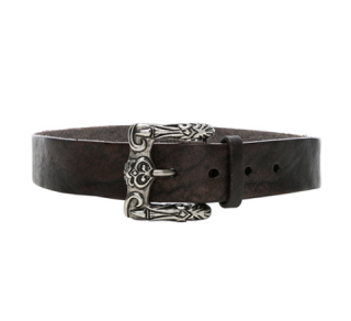 Saint Laurent Leather Belt w/ Celtic Engraved Buckle