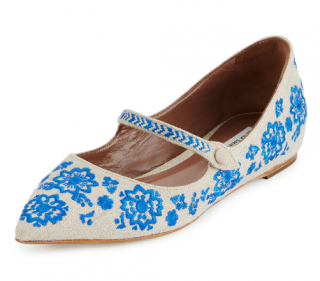 Tabitha Simmons Hermione Embroidered Linen Flats